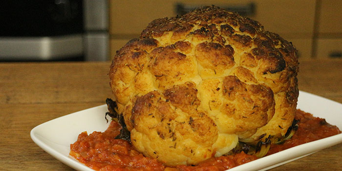 Whole Roasted Cauliflower with Romesco Sauce Recipe