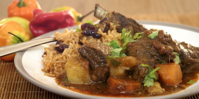 Curry Goat with Coconut Rice and Beans Recipe